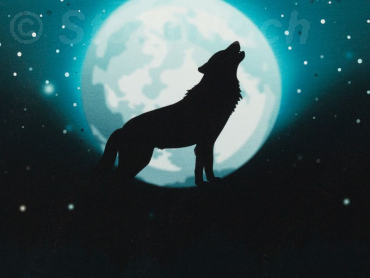"Sommersweat Swafing ""Wolf Moon 2"" petrol - Panel a 95 cm"
