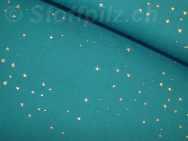 Double Gauze / Musselin Golden Stars petrol