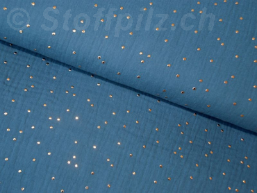 Double Gauze / Musselin Golden Dots jeansblau