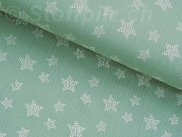Double Gauze / Musselin Sterne dusty mint