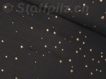 Double Gauze / Musselin Golden Stars schwarz