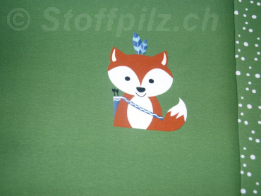 "Baumwolljersey Hilco ""Forest Friends"" grün - Panel a 43 cm"