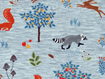 "Baumwollsweat Hilco ""Animals in the forest"" blau - grau"