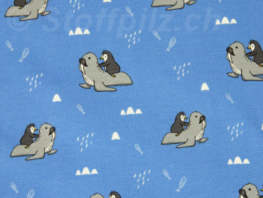 "Baumwollsweat Hilco ""Animal Friends"" blau"