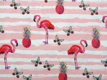 Baumwolljersey Faded Stripes Flamingos rose