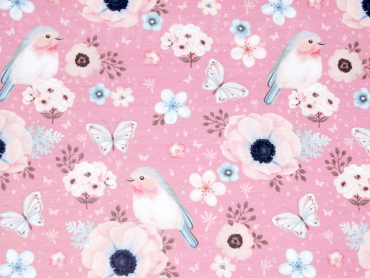 Baumwolljersey Birds dusty rosa