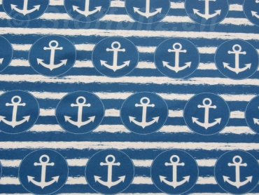 Sommersweat Anker blau - offwhite
