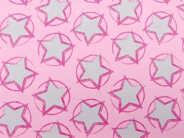 Bio Baumwolljersey Stars in the Middle rosa