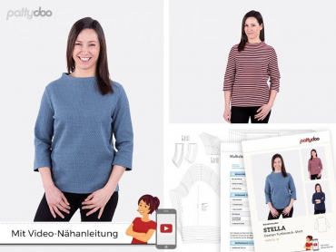 Turtleneck-Shirt Stella, Schnittmuster Gr. 32 - 54 by pattydoo
