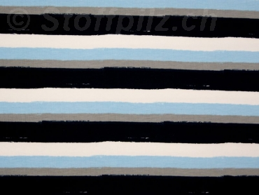 Baumwolljersey Faded Stripes marine - hellblau