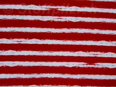 Sommersweat Stripes rot - weiss