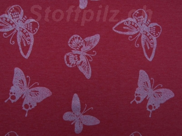 Sommersweat Glitzerschmetterlinge rot