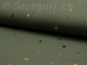 Double Gauze / Musselin Copper Dots khaki