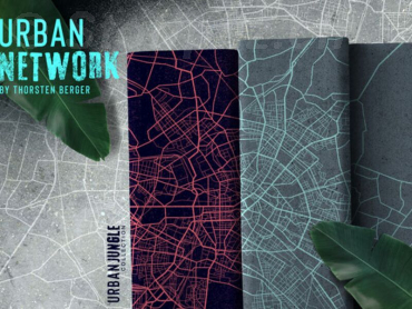 "Sommesweat ""Urban Network by Thorsten Berger"" grau-aqua Panel a ca. 66 cm"