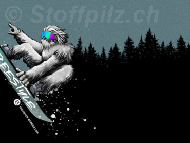 "Sommersweat ""Yeti Crossing"" by Thorsten Berger schwarz - grau - Panel a ca. 80 cm"