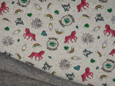 Wellness Sweat - Alpenfleece Sparkling Unicorns grau