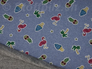 Wellness Sweat - Alpenfleece Patches Sparkling Flamingos jeansblau