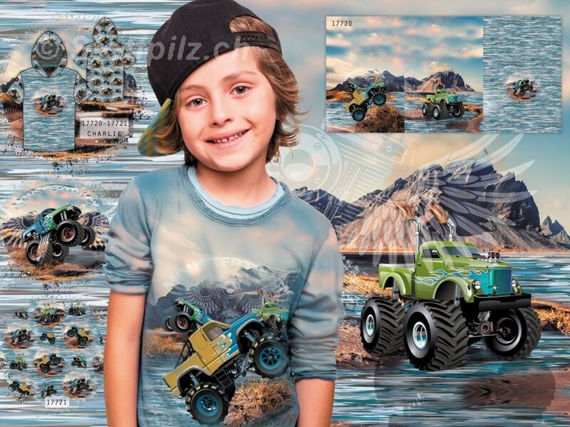 Baumwolljersey Digitaldruck Monster Truck blau - Panel a ca. 75 cm