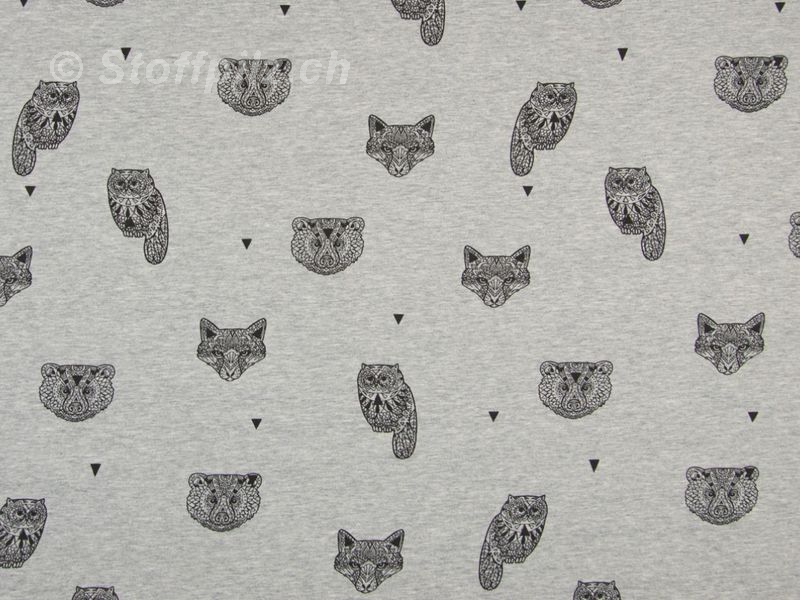 Sweat Geo Animals grau - schwarz